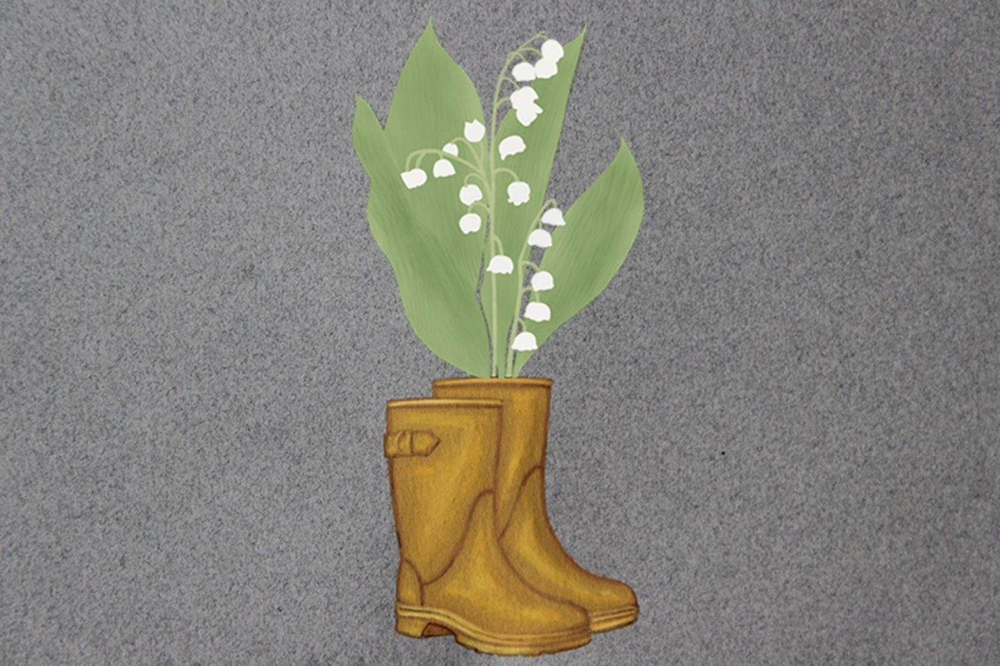 Painting of a pair of gold rain boots with a big bouquet of printed lily of the valley inside