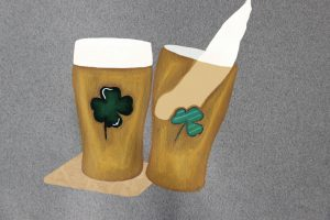 Painting of two glasses of beer one set on a mat and the other about to spill over, both with emerauld green painted lucky cloves on top.